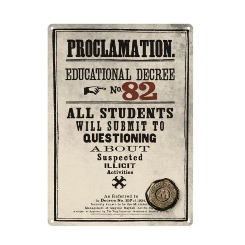 Harry Potter Educational Decree 82 Tin Sign A5 Wall Plaque